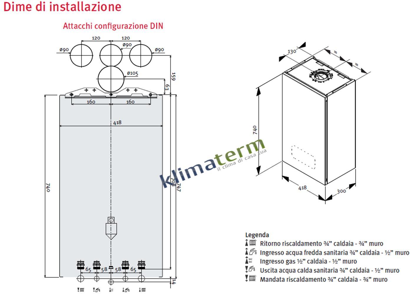 Caldaia A Condensazione Semiatek 4 Condensing 30 Kw Erp Completa Kit