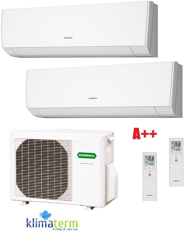 Climatizzatore condizionatore dual split serie LMCA 7+12 u.e. 18000 btu bianco classe A++ inverter gas R410A