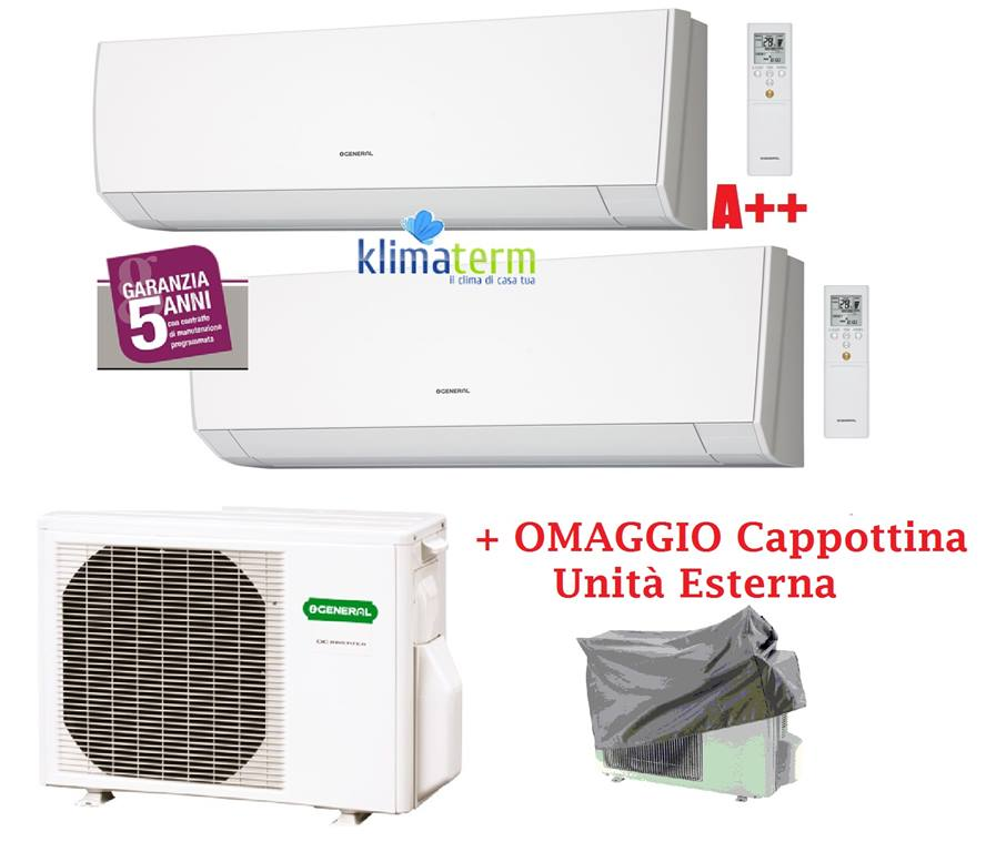 Climatizzatore Condizionatore General Fujitsu Serie LM 7+7 ASHG07LMCA +ASHG07LMCA +AOHG14LAC2 Dual Split 7000+7000 Classe A++ inverter gas R410A OMAGGIO CAPPOTTINA ESTERNA!!