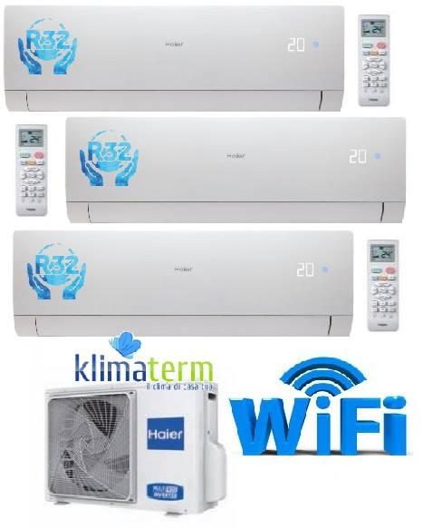 Climatizzatore Haier NEBULA GREEN Bianco Trial Split 7+7+15 WiFi Gas R32 NUOVA SERIE!!! Inverter A++ White - Esterna 24000 btu 3U68S2SG1FA 7000+7000+15000
