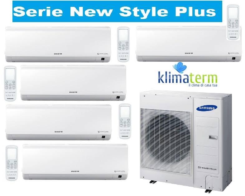 Climatizzatore Condizionatore New Style Plus Penta Split Inverter 7000 + 7000 + 7000 + 9000 + 12000 BTU con U.E. AJ100FCJ5EH/EU Classe A/A