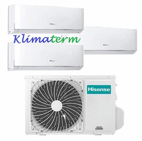 Climatizzatore Condizionatore Hisense NEW COMFORT 9+9+9 Trial Split Inverter Classe A++ con esterna 3AMW58U4SZD1 CON ALETTE INTERNE ORIENTABILI CON TELECOMANDO!!!!
