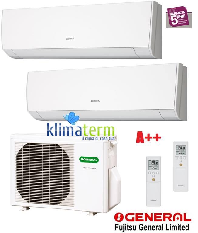 Climatizzatore Condizionatore General Fujitsu Serie LM 9+9 ASHG09LMCA +ASHG09LMCA +AOHG18LAC2 Dual Split 9000+9000 classe A++ inverter gas R410A