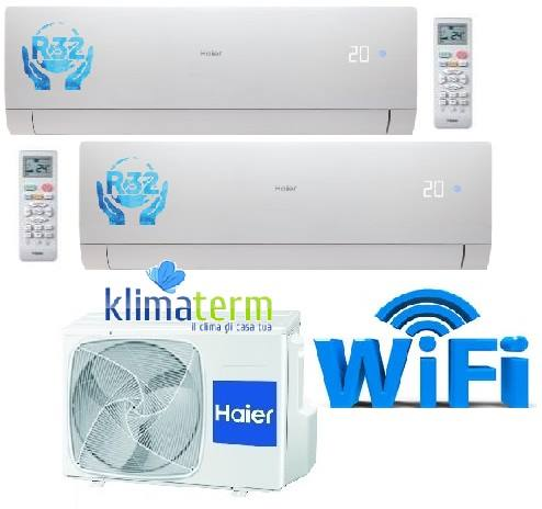 Climatizzatore Haier NEBULA GREEN Bianco Dual Split 7+12 WiFi Gas R32 NUOVA SERIE!!! Inverter A++ White - Esterna 14000 btu 2U40S2SC1FA 7000+12000