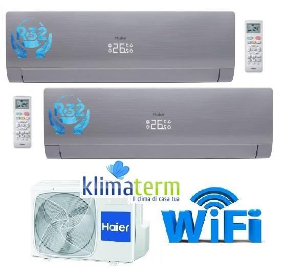 Climatizzatore Condizionatore Inverter NEBULA GREEN Grey Dual Split 9+9 Grigio Silver A++ WiFi Gas R-32 - Esterna 18000 btu 2U50S2SF1FA 9000+9000 NUOVA SERIE!!!